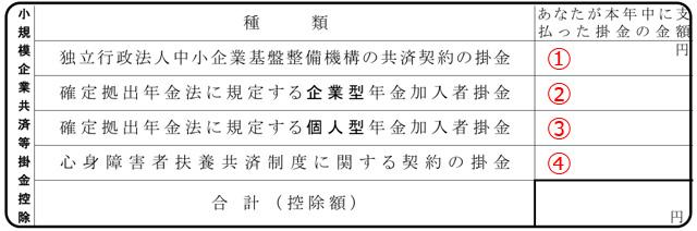 小規模企業共済等掛金欄の記入例